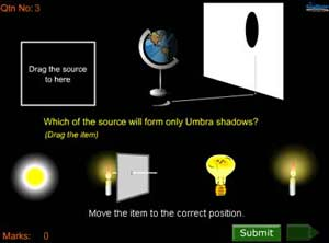 quiz on light :The questions are graphical and interactive