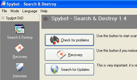 Spybot search and destroy malware, worms, trojans smitfraud and vertumonde